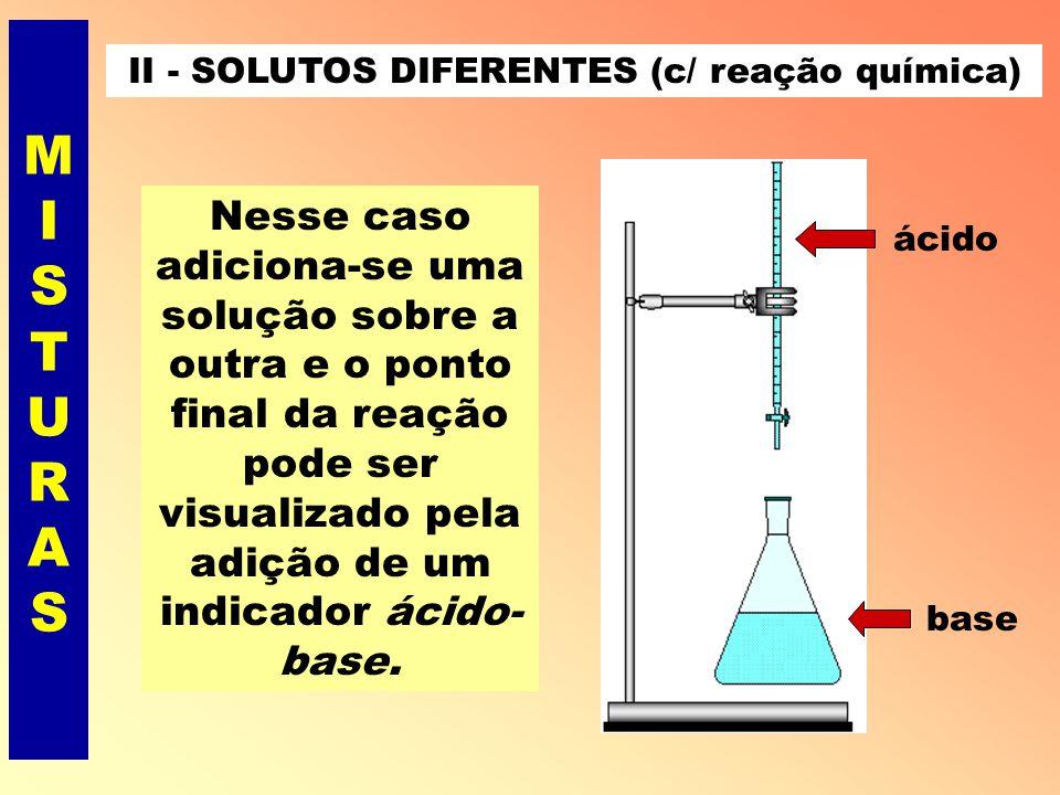 II - SOLUTOS DIFERENTES (c/ reação química)