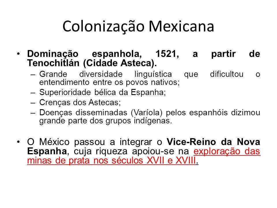 Colonização Mexicana Dominação espanhola, 1521, a partir de Tenochitlán (Cidade Asteca).