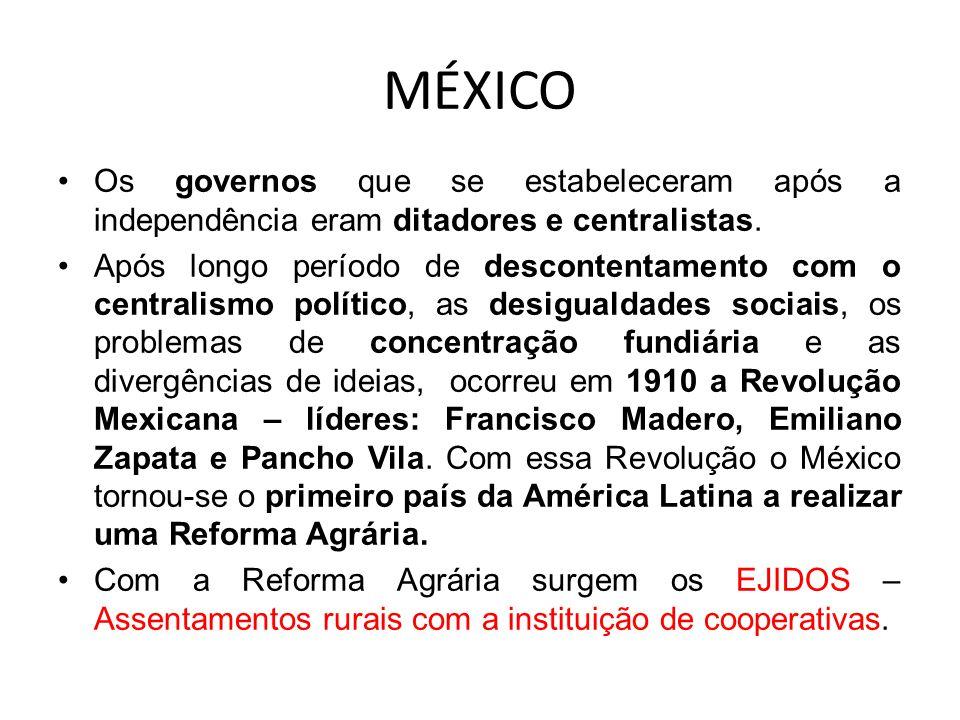MÉXICO Os governos que se estabeleceram após a independência eram ditadores e centralistas.