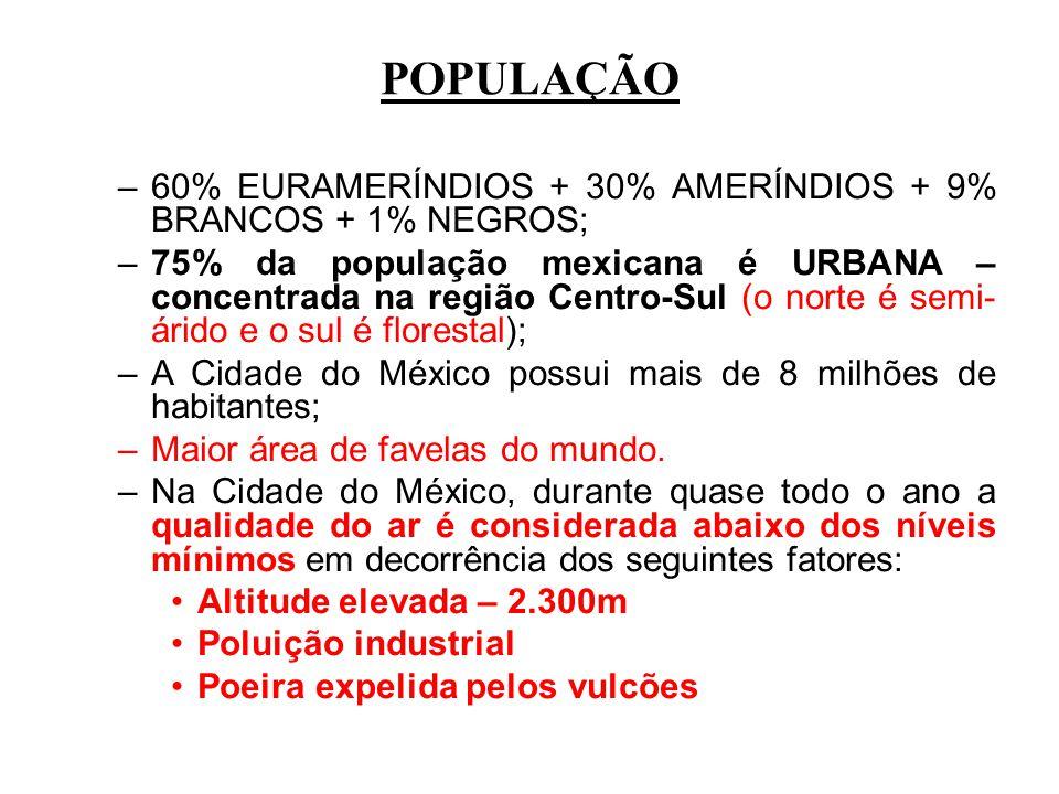 POPULAÇÃO 60% EURAMERÍNDIOS + 30% AMERÍNDIOS + 9% BRANCOS + 1% NEGROS;