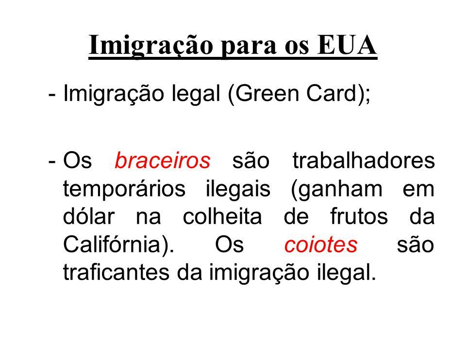 Imigração para os EUA Imigração legal (Green Card);