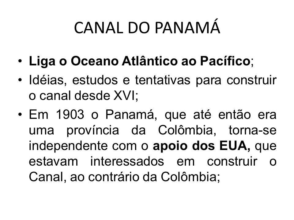 CANAL DO PANAMÁ Liga o Oceano Atlântico ao Pacífico;