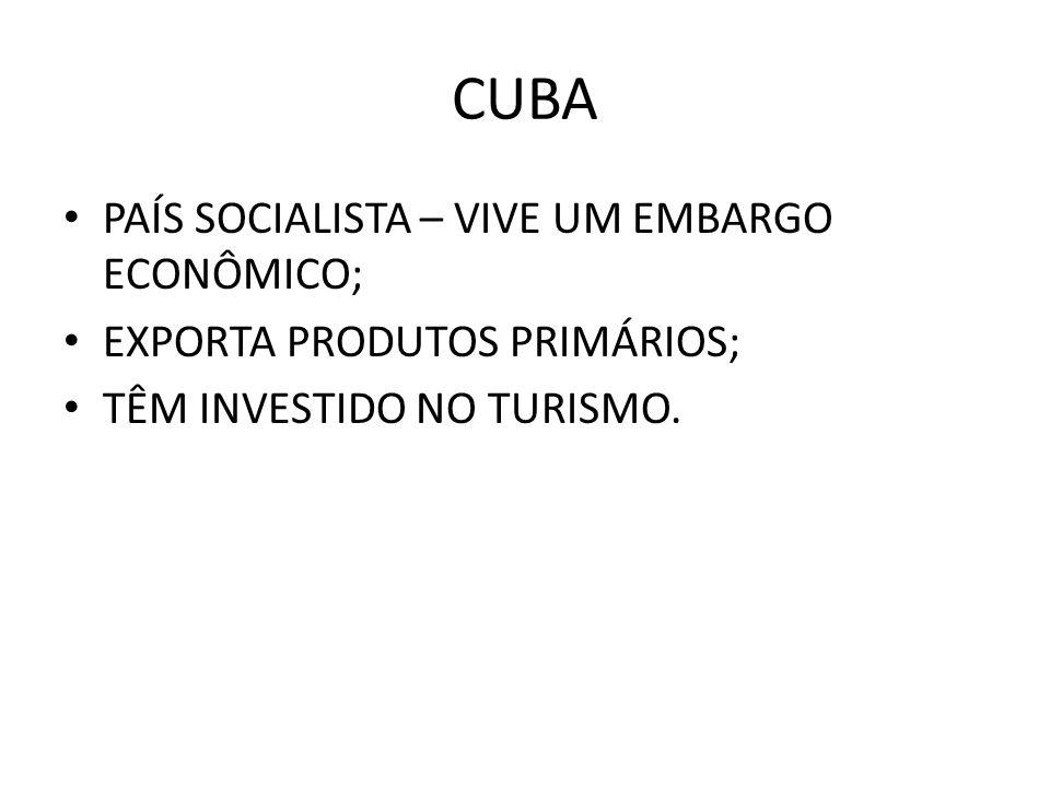 CUBA PAÍS SOCIALISTA – VIVE UM EMBARGO ECONÔMICO;
