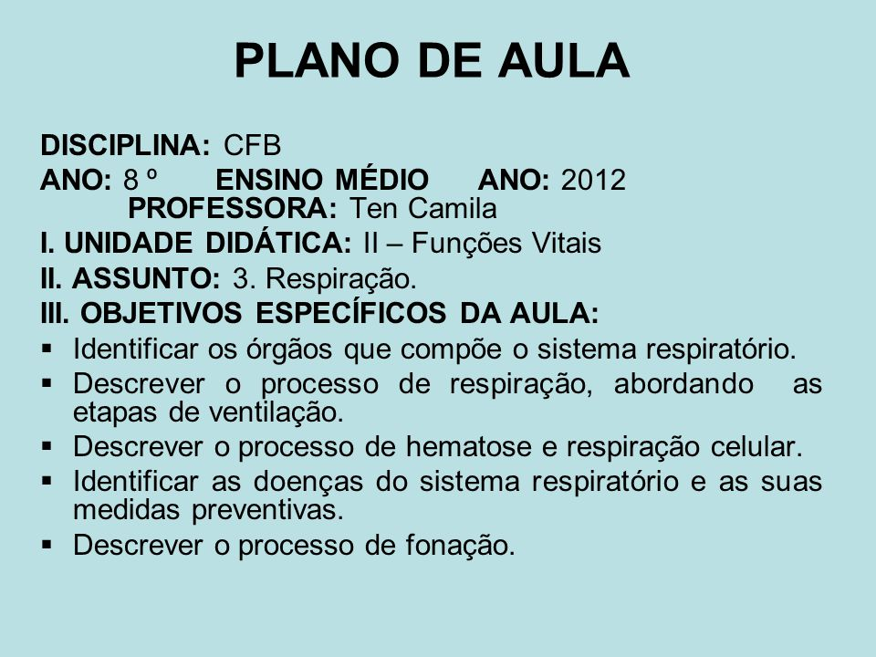 PLANO DE AULA DISCIPLINA: CFB