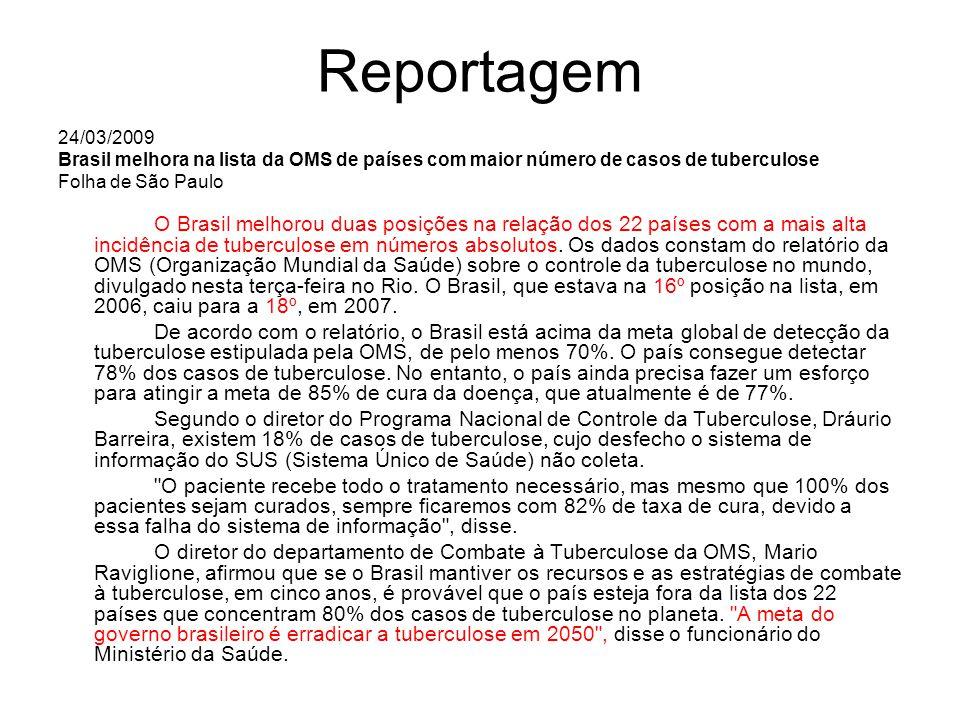 Reportagem 24/03/2009. Brasil melhora na lista da OMS de países com maior número de casos de tuberculose.