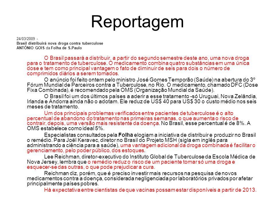 Reportagem 24/03/2009 - Brasil distribuirá nova droga contra tuberculose. ANTÔNIO GOIS da Folha de S.Paulo.