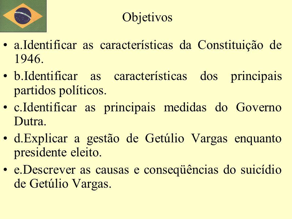 Objetivos a.Identificar as características da Constituição de 1946. b.Identificar as características dos principais partidos políticos.