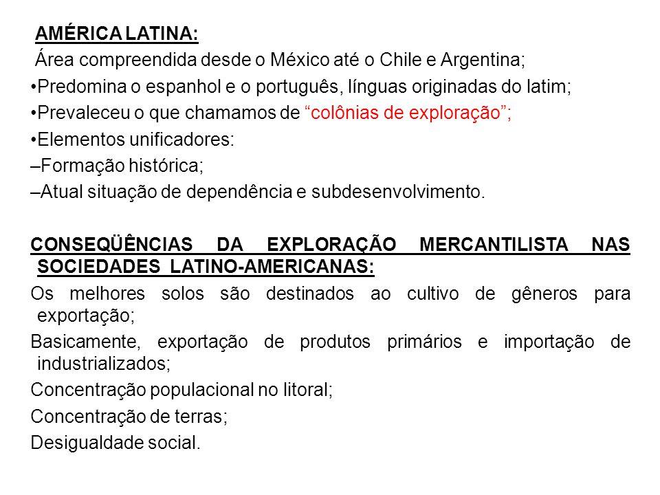 AMÉRICA LATINA: Área compreendida desde o México até o Chile e Argentina; Predomina o espanhol e o português, línguas originadas do latim;