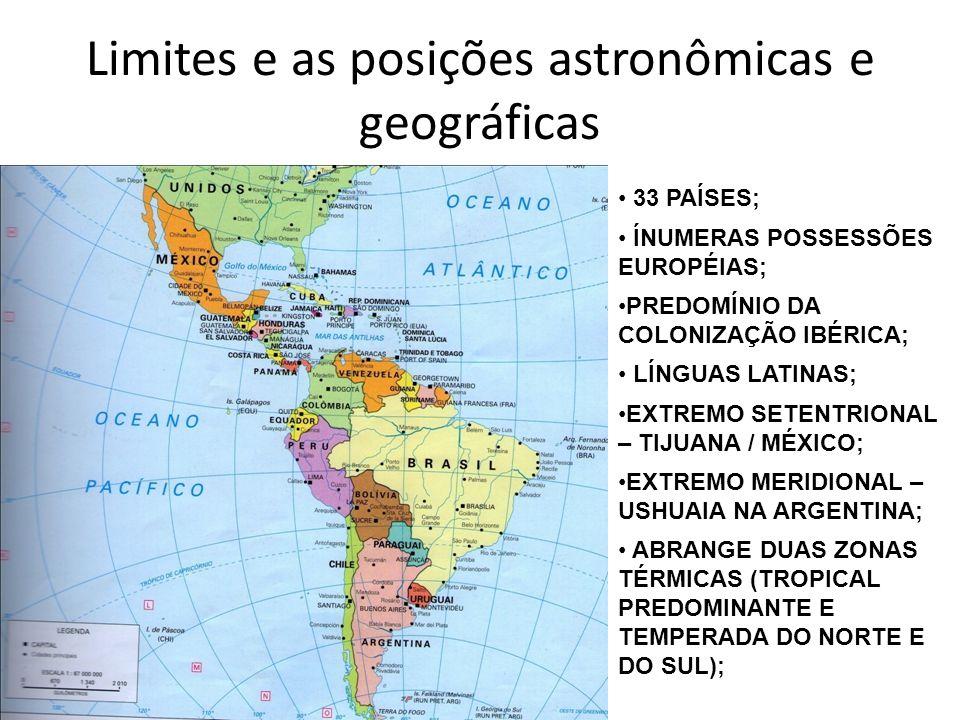 Limites e as posições astronômicas e geográficas
