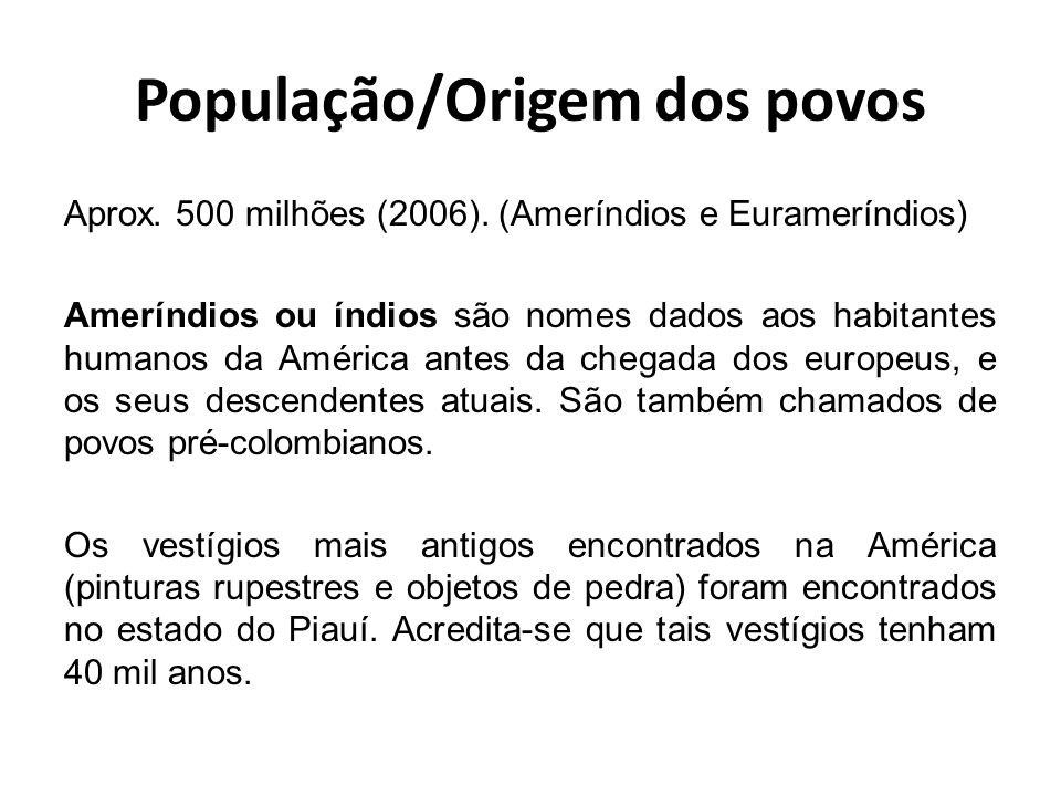 População/Origem dos povos