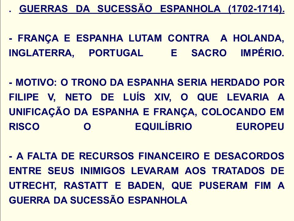 GUERRAS DA SUCESSÃO ESPANHOLA (1702-1714)
