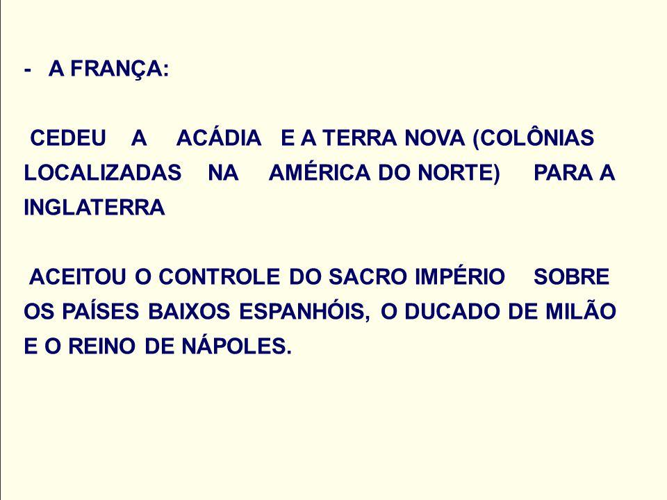 - A FRANÇA: CEDEU A ACÁDIA E A TERRA NOVA (COLÔNIAS LOCALIZADAS NA AMÉRICA DO NORTE) PARA A INGLATERRA ACEITOU O CONTROLE DO SACRO IMPÉRIO SOBRE OS PAÍSES BAIXOS ESPANHÓIS, O DUCADO DE MILÃO E O REINO DE NÁPOLES.