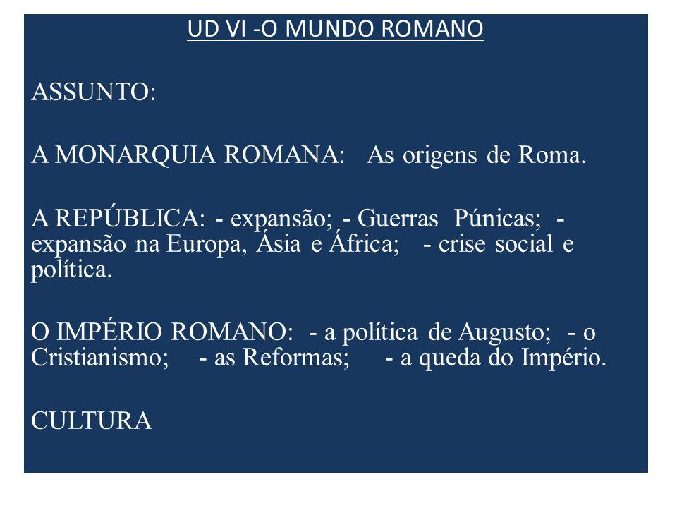 UD VI -O MUNDO ROMANO ASSUNTO: A MONARQUIA ROMANA: As origens de Roma.