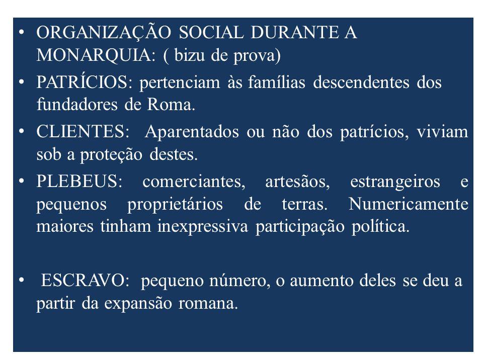 ORGANIZAÇÃO SOCIAL DURANTE A MONARQUIA: ( bizu de prova)
