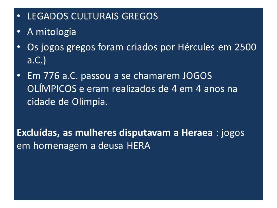 LEGADOS CULTURAIS GREGOS