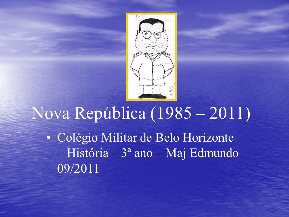 Nova República (1985 – 2011) Colégio Militar de Belo Horizonte – História – 3ª ano – Maj Edmundo 09/2011.