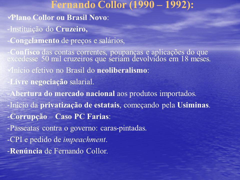 Fernando Collor (1990 – 1992): Plano Collor ou Brasil Novo: