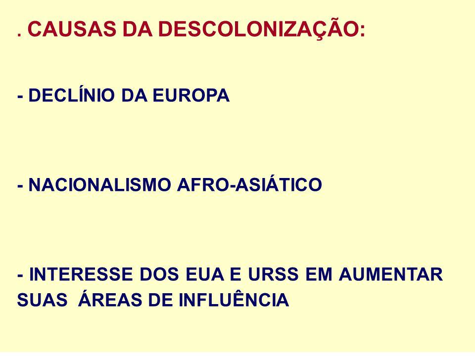 . CAUSAS DA DESCOLONIZAÇÃO: