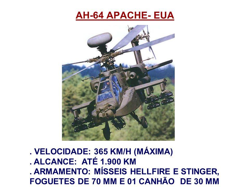 AH-64 APACHE- EUA . VELOCIDADE: 365 KM/H (MÁXIMA)