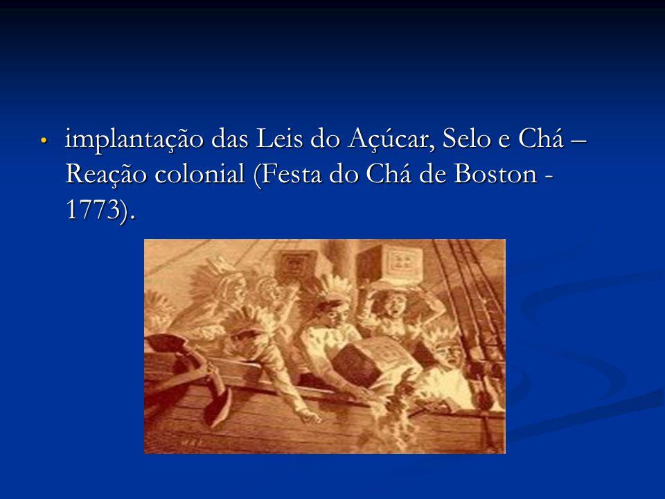 implantação das Leis do Açúcar, Selo e Chá – Reação colonial (Festa do Chá de Boston - 1773).