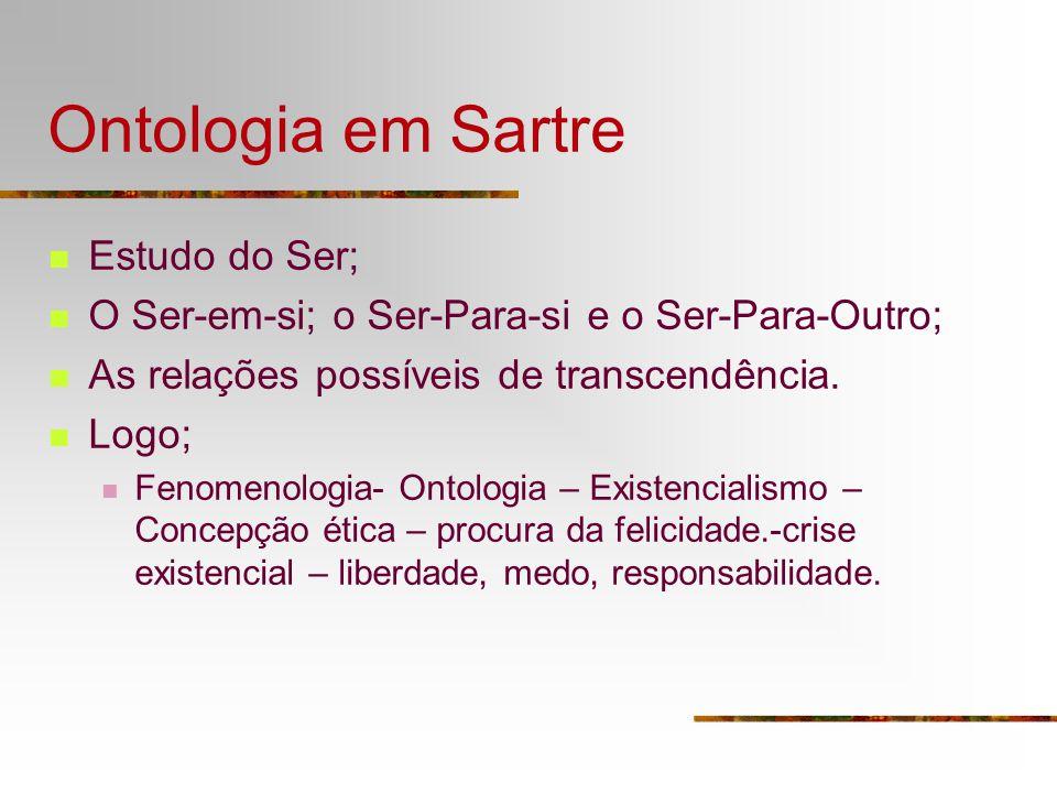 Ontologia em Sartre Estudo do Ser;