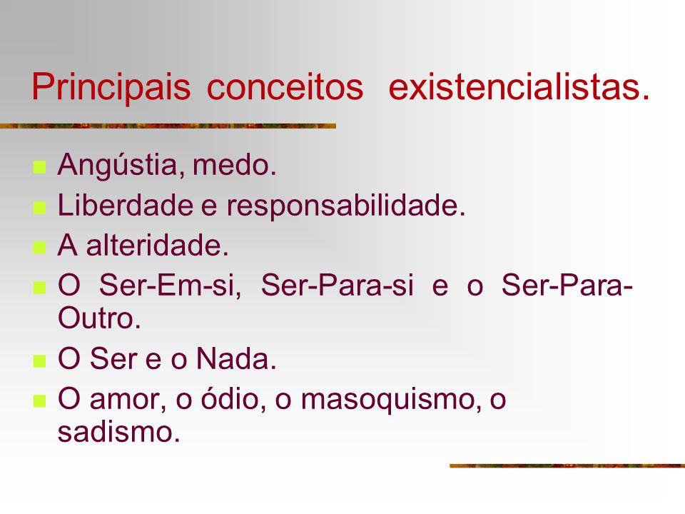 Principais conceitos existencialistas.