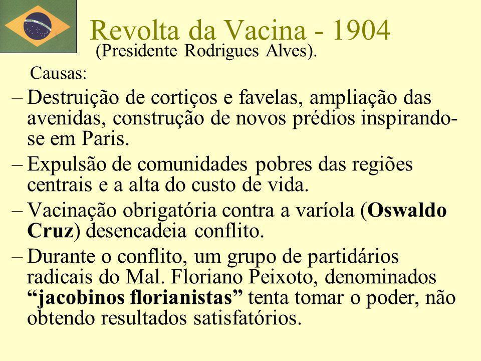 Revolta da Vacina - 1904 (Presidente Rodrigues Alves). Causas: