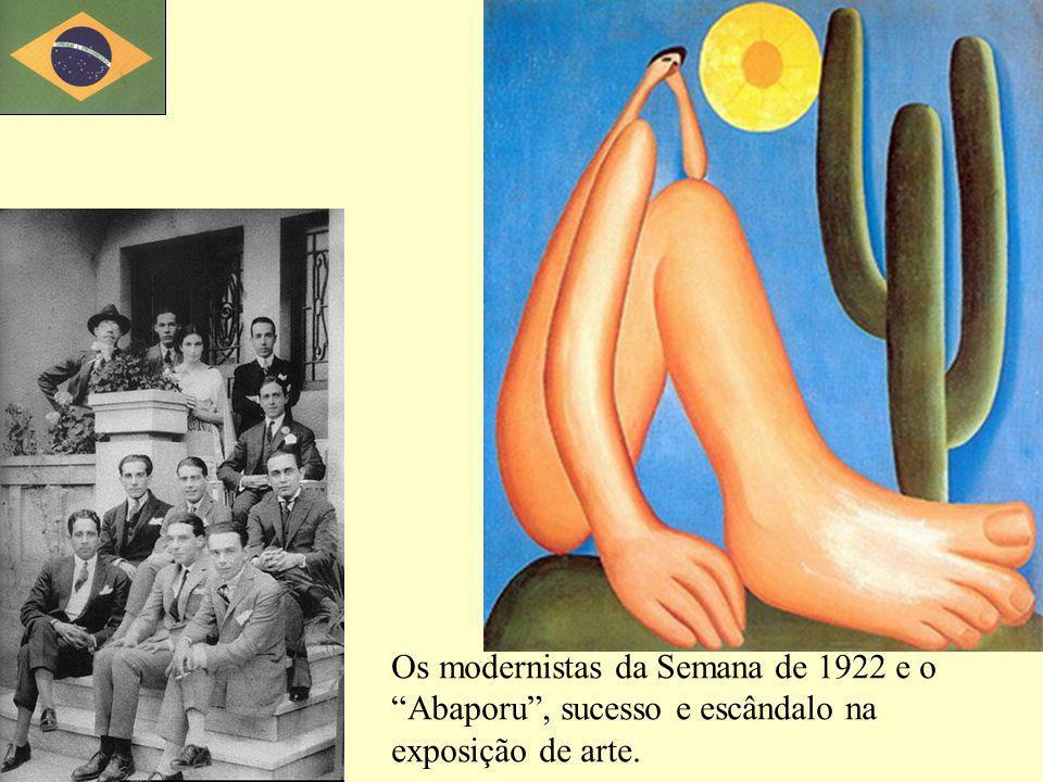 Os modernistas da Semana de 1922 e o Abaporu , sucesso e escândalo na exposição de arte.