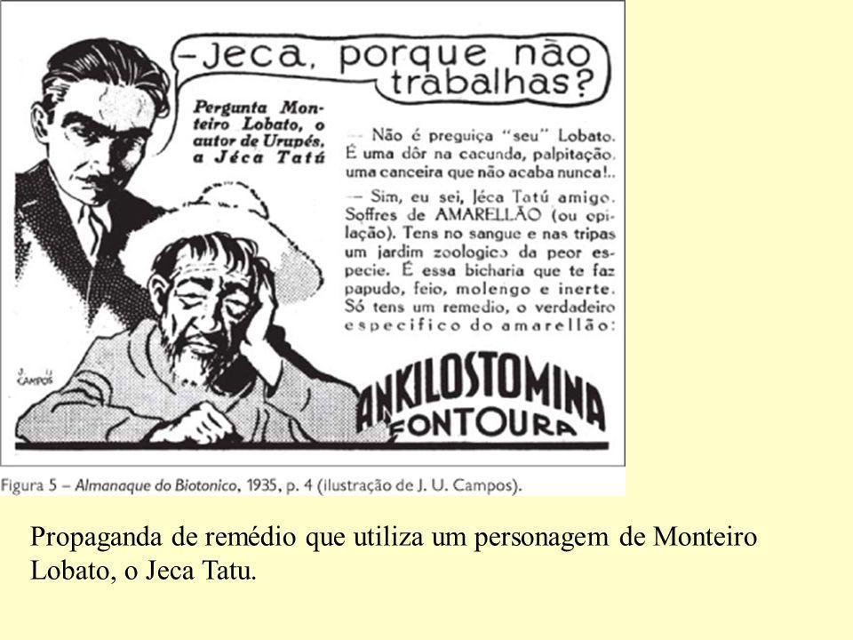 Propaganda de remédio que utiliza um personagem de Monteiro