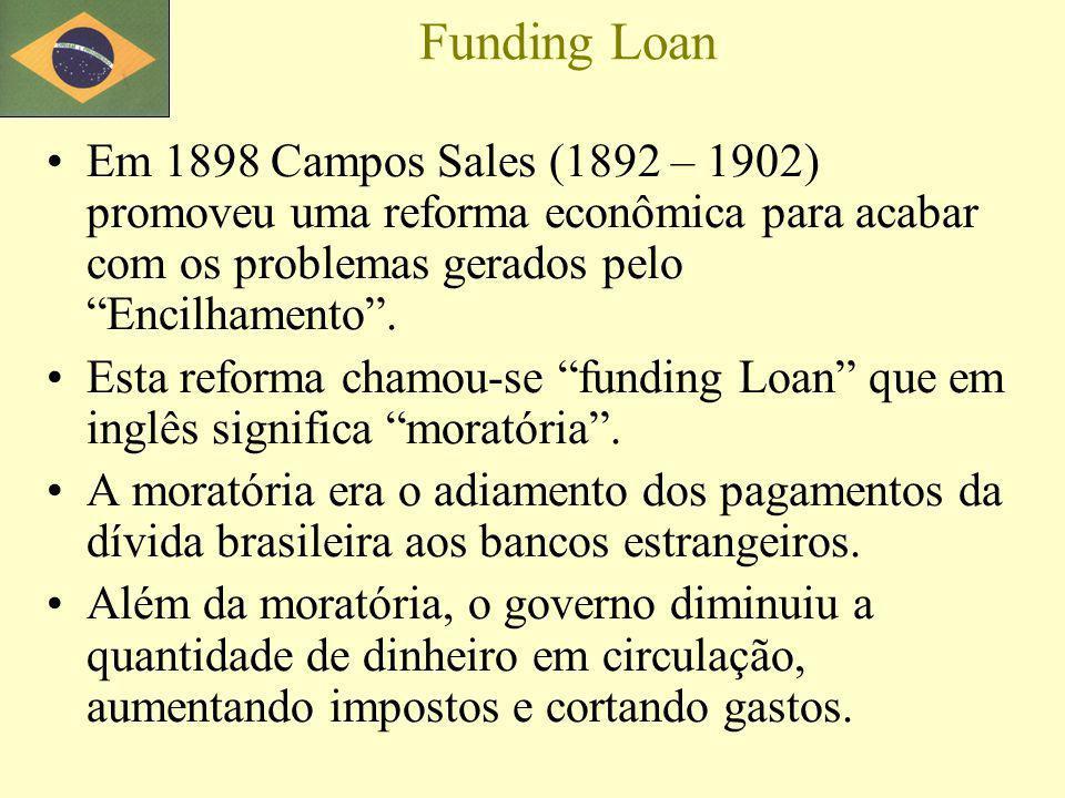 Funding Loan Em 1898 Campos Sales (1892 – 1902) promoveu uma reforma econômica para acabar com os problemas gerados pelo Encilhamento .