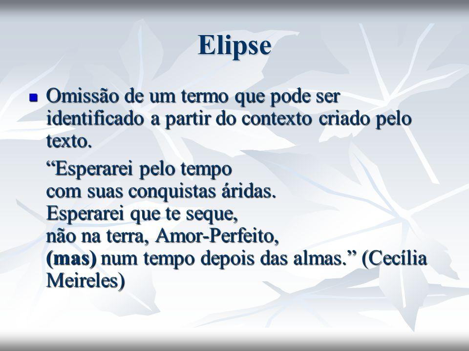Elipse Omissão de um termo que pode ser identificado a partir do contexto criado pelo texto.