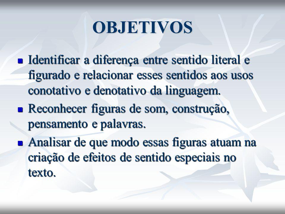 OBJETIVOS Identificar a diferença entre sentido literal e figurado e relacionar esses sentidos aos usos conotativo e denotativo da linguagem.