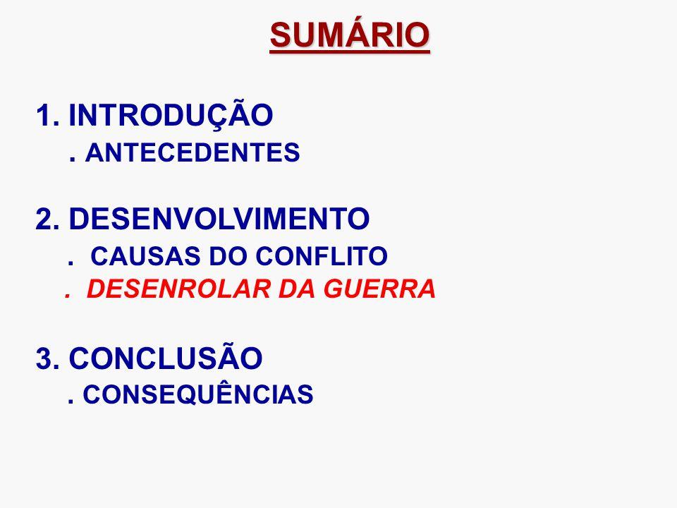 SUMÁRIO 1. INTRODUÇÃO . ANTECEDENTES 2. DESENVOLVIMENTO 3. CONCLUSÃO
