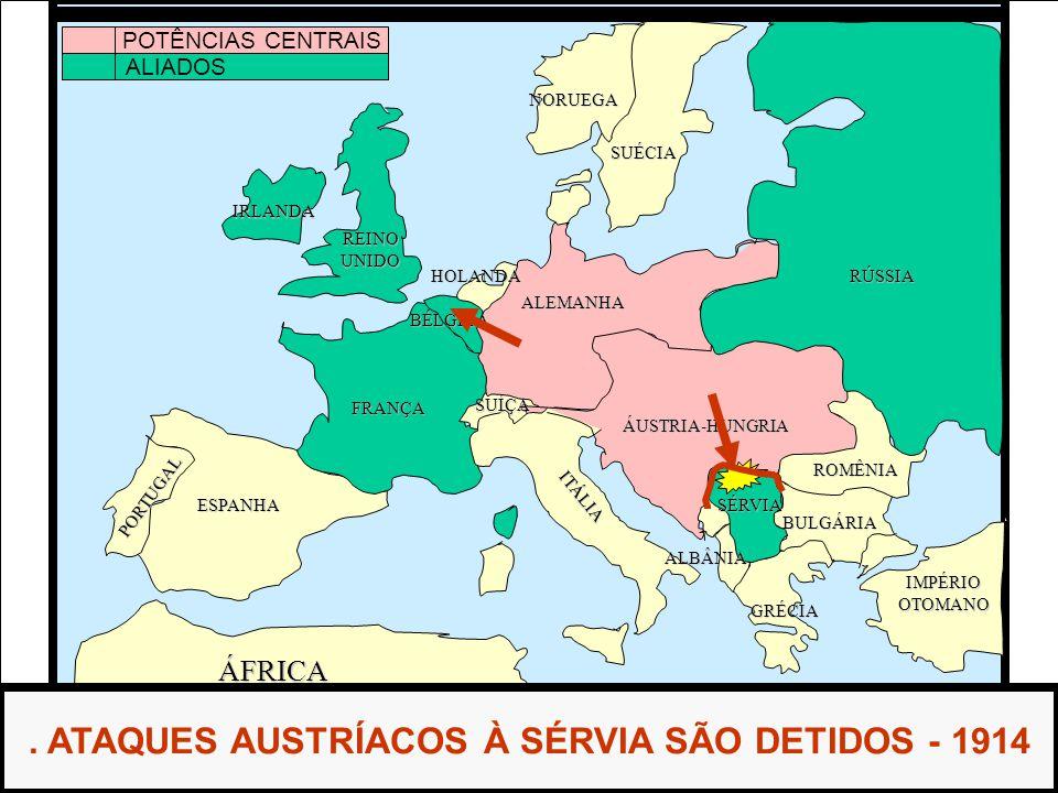. ATAQUES AUSTRÍACOS À SÉRVIA SÃO DETIDOS - 1914