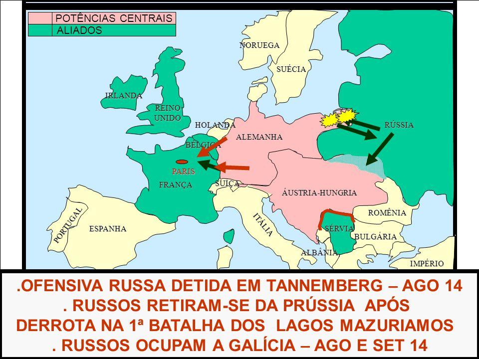 .OFENSIVA RUSSA DETIDA EM TANNEMBERG – AGO 14