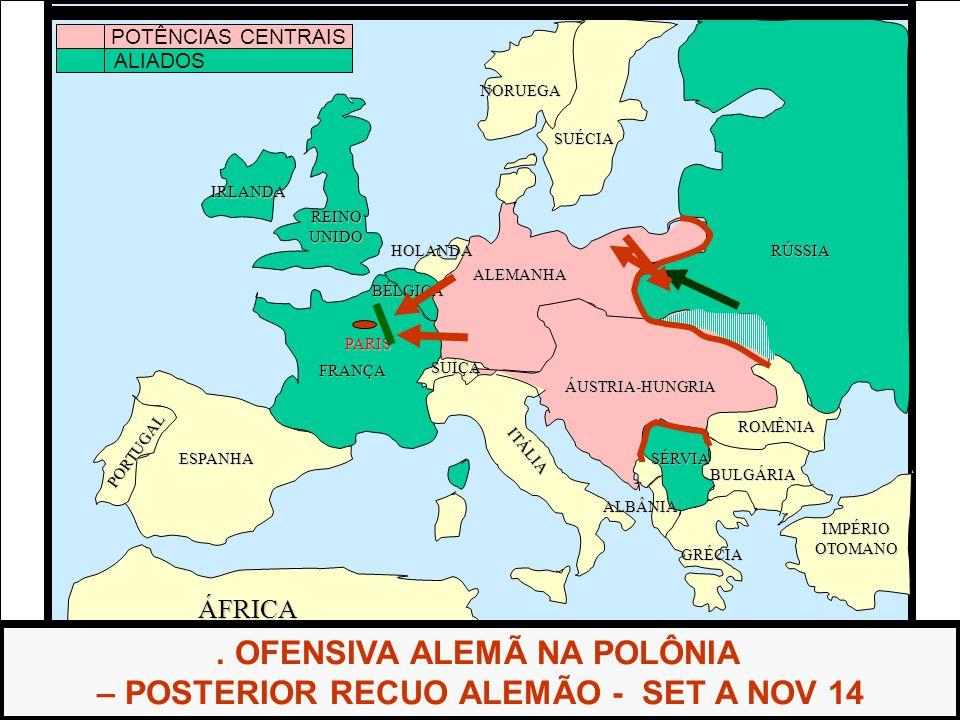 . OFENSIVA ALEMÃ NA POLÔNIA – POSTERIOR RECUO ALEMÃO - SET A NOV 14