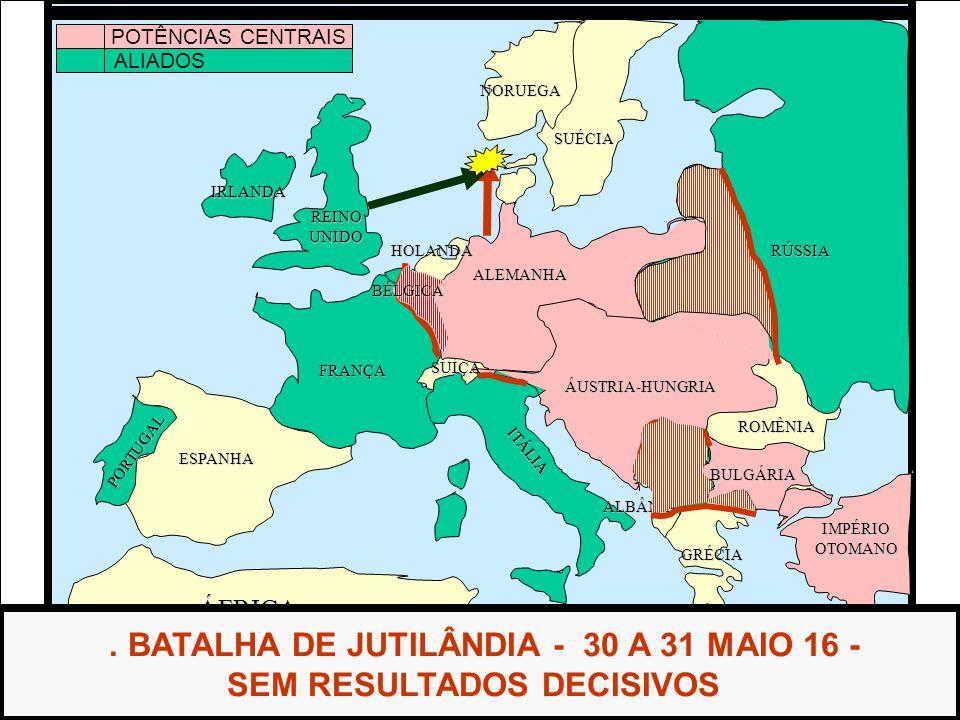 . BATALHA DE JUTILÂNDIA - 30 A 31 MAIO 16 - SEM RESULTADOS DECISIVOS