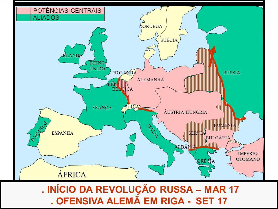 . INÍCIO DA REVOLUÇÃO RUSSA – MAR 17 . OFENSIVA ALEMÃ EM RIGA - SET 17