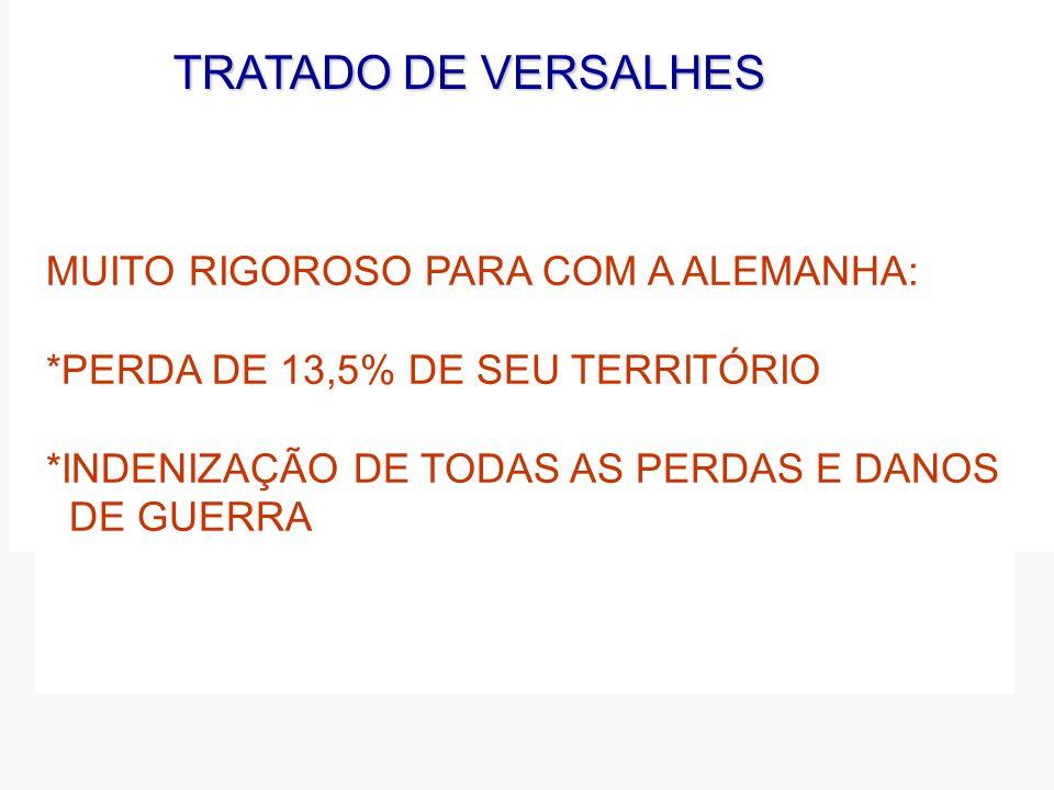 TRATADO DE VERSALHES MUITO RIGOROSO PARA COM A ALEMANHA: