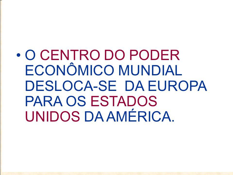 O CENTRO DO PODER ECONÔMICO MUNDIAL DESLOCA-SE DA EUROPA PARA OS ESTADOS UNIDOS DA AMÉRICA.