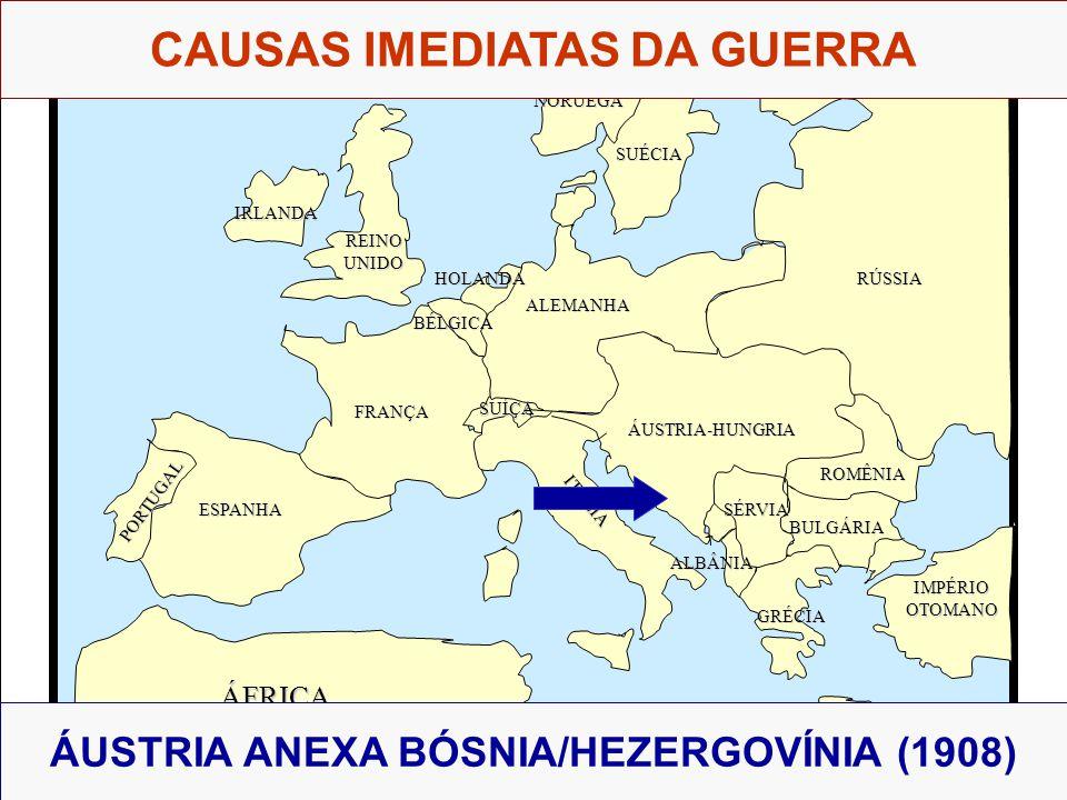 CAUSAS IMEDIATAS DA GUERRA ÁUSTRIA ANEXA BÓSNIA/HEZERGOVÍNIA (1908)