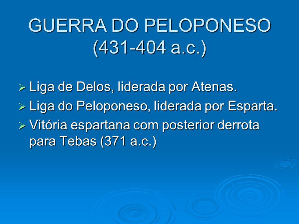 GUERRA DO PELOPONESO (431-404 a.c.)