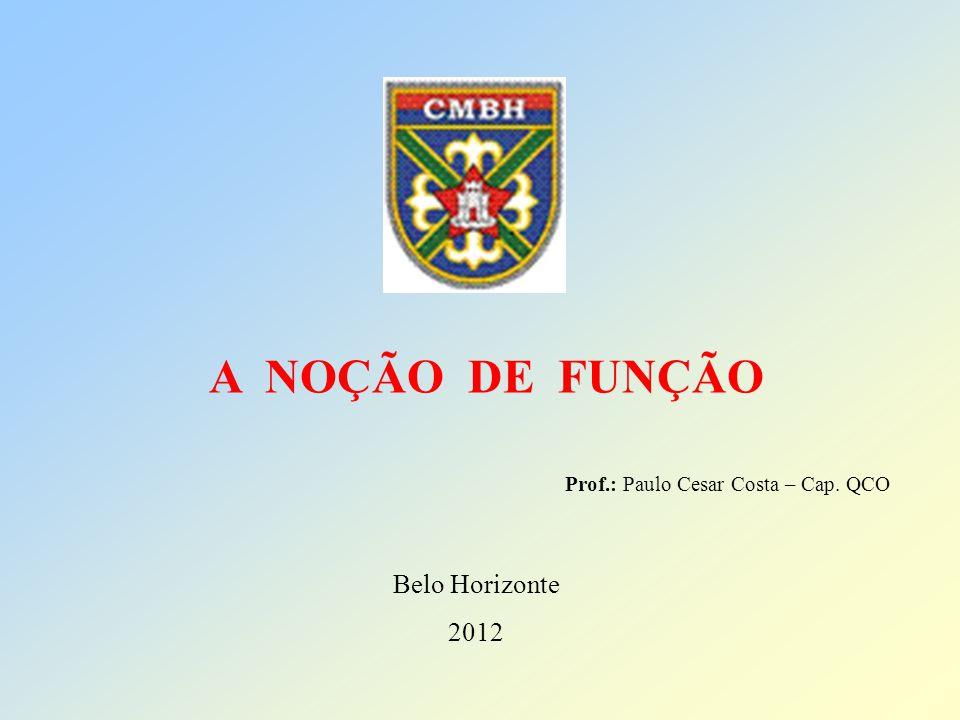 A NOÇÃO DE FUNÇÃO Belo Horizonte 2012