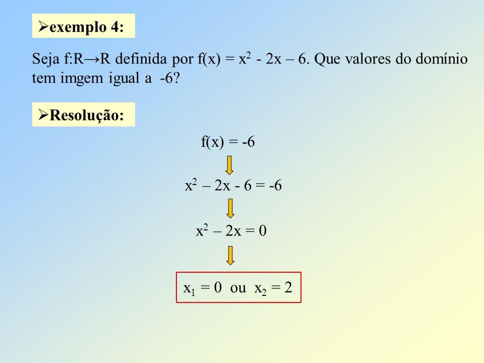 exemplo 4: Seja f:R→R definida por f(x) = x2 - 2x – 6. Que valores do domínio. tem imgem igual a -6