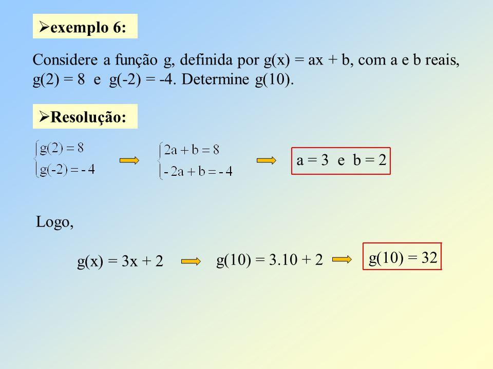 exemplo 6: Considere a função g, definida por g(x) = ax + b, com a e b reais, g(2) = 8 e g(-2) = -4. Determine g(10).