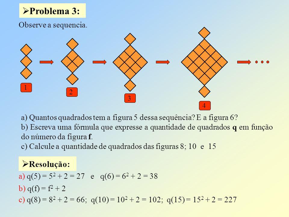 Problema 3: Resolução: Observe a sequencia.