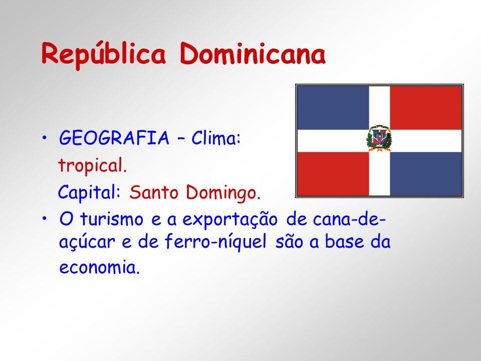 República Dominicana GEOGRAFIA – Clima: tropical.