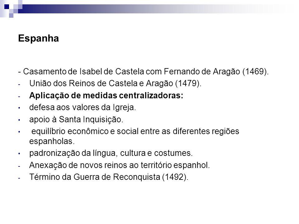 Espanha - Casamento de Isabel de Castela com Fernando de Aragão (1469). União dos Reinos de Castela e Aragão (1479).