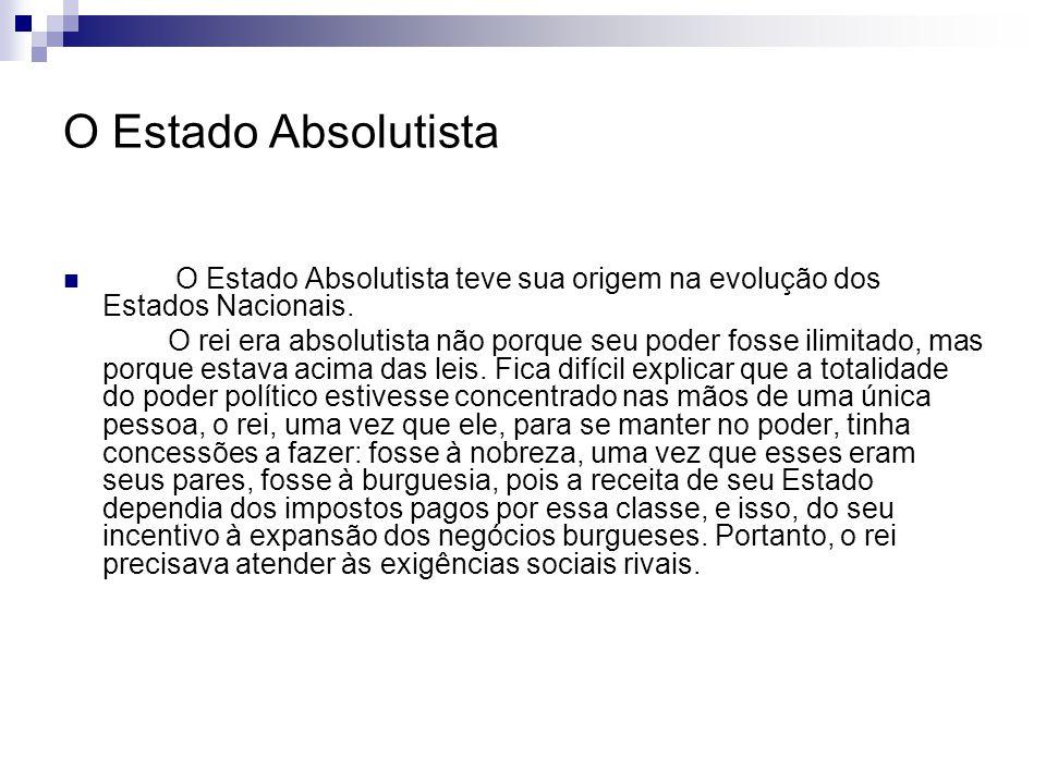 O Estado Absolutista O Estado Absolutista teve sua origem na evolução dos Estados Nacionais.