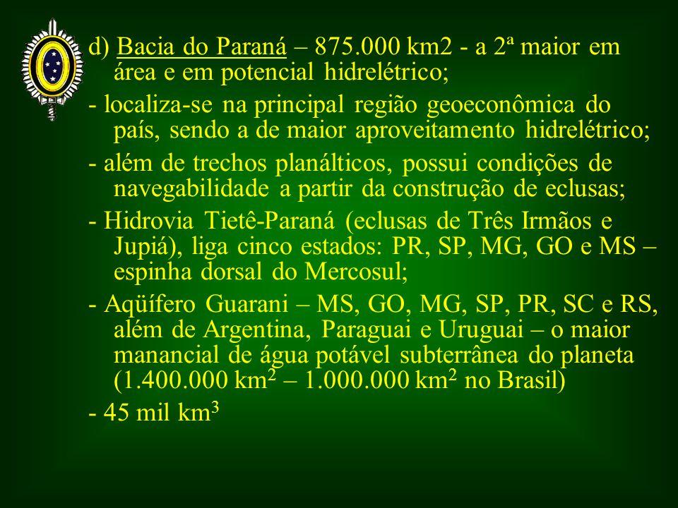 d) Bacia do Paraná – 875.000 km2 - a 2ª maior em área e em potencial hidrelétrico;